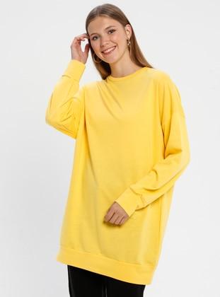 Yellow - Crew neck -  - Tunic - Loreen By Puane