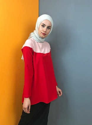 Red - Pink - Crew neck - Tunic