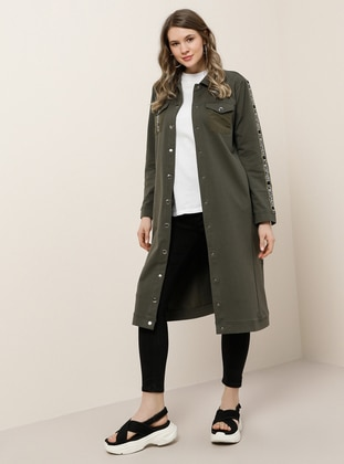 Khaki - Unlined - Point Collar -  - Plus Size Coat - Alia