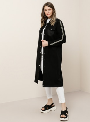 Black - Unlined - Point Collar -  - Plus Size Coat - Alia
