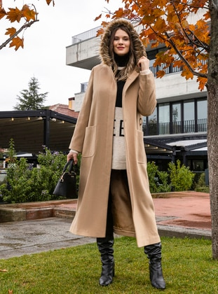Camel - Fully Lined - Rayon - Plus Size Overcoat