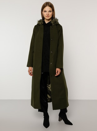 Khaki - Fully Lined - Rayon - Plus Size Overcoat