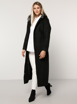 Black - Fully Lined - Rayon - Plus Size Overcoat - Alia