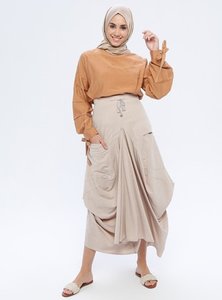 Stone - Unlined - Nylon - Rayon - Skirt
