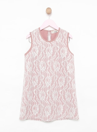Floral - Crew neck -  - Unlined - Pink - Girls` Dress