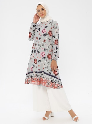 Gray - Floral - Crew neck - Tunic