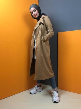 Tan - Unlined - Shawl Collar - Trench Coat