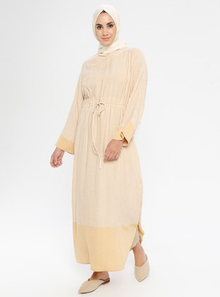 Yellow - Stripe - Crew neck - Tunic