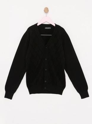 V neck Collar -  - Unlined - Black - Boys` Cardigan