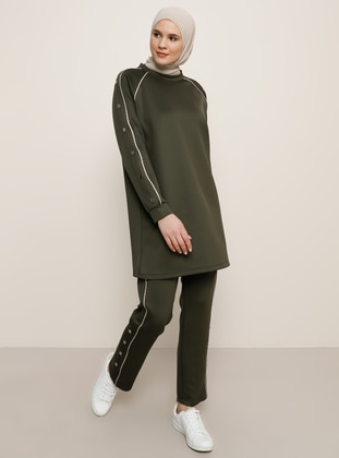 Khaki - Stone - Crew neck - Unlined - Plus Size Suit