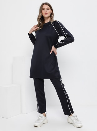 Ecru - Navy Blue - Crew neck - Unlined - Plus Size Suit - Alia