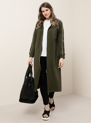 Khaki - Stone - Unlined - Plus Size Coat
