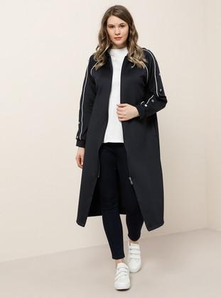 Ecru - Navy Blue - Unlined - Plus Size Coat - Alia