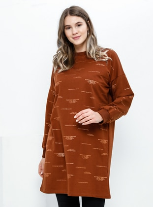 Tan - Crew neck -  - Plus Size Tunic