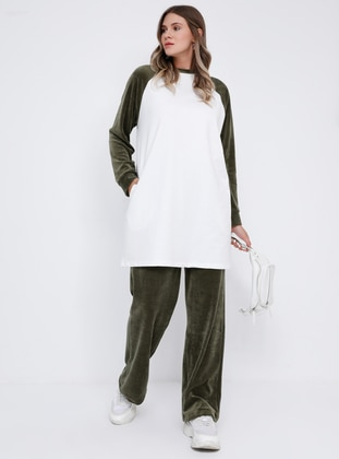 Ecru - Khaki - Crew neck - Unlined -  - Plus Size Suit