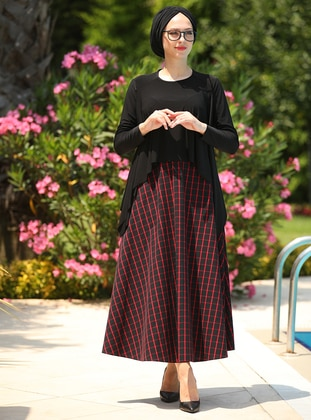 Red - Black - Plaid - Geometric - Unlined -  - Skirt