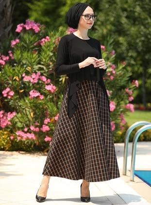 Black - Orange - Plaid - Geometric -  - Skirt