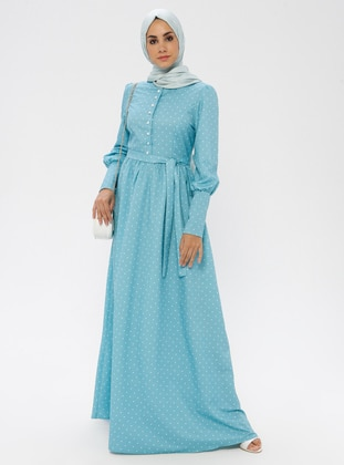 Mint - Polka Dot - Crew neck - Unlined - Dress