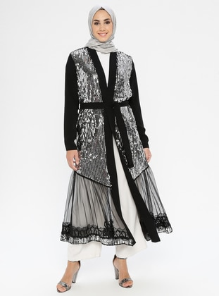 Silver tone - Black - Shawl Collar - Unlined - Dress