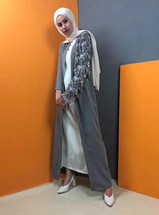 Gray - Unlined - Shawl Collar - Abaya