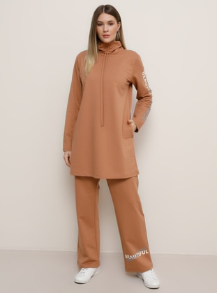 Camel - Tan - Crew neck - Unlined -  - Plus Size Suit
