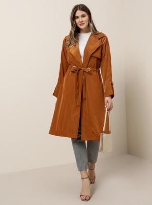 Terra Cotta - Unlined - Shawl Collar - Plus Size Coat - Alia