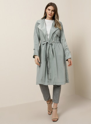 Sea-green - Unlined - Shawl Collar - Plus Size Coat - Alia