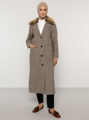 Beige - Plaid - Fully Lined - Shawl Collar - Acrylic - Coat