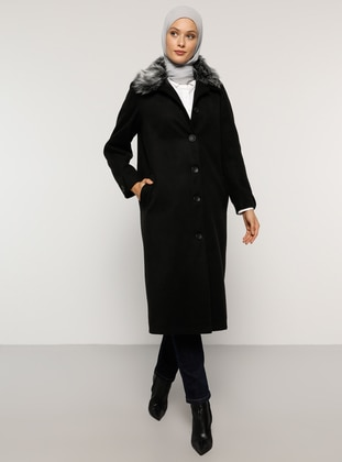 Black - Fully Lined - Point Collar - Acrylic - Coat