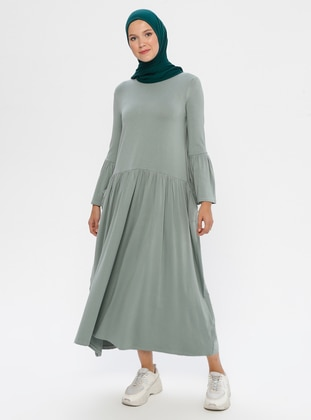 Green Almond - Crew neck - Unlined - Viscose - Dress