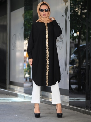 Gold - Gold - Black - Crew neck - Crepe - Tunic