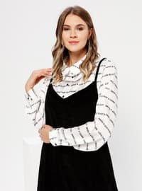 Black - Unlined - V neck Collar -  - Plus Size Dress