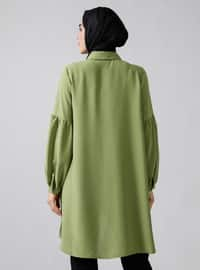 Olive Green - Green - Point Collar - Tunic