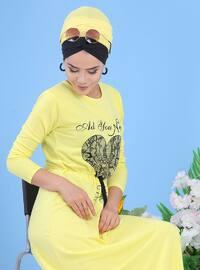 Yellow - Crew neck - Dress