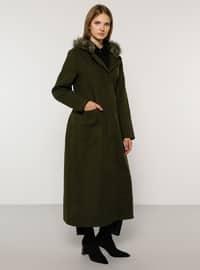 Khaki - Fully Lined - Rayon - Plus Size Overcoat