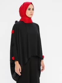 Red - Crew neck - Unlined - Poncho - Filizzade