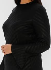 Black - Stripe - Button Collar - Unlined - Plus Size Evening Suit