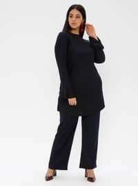 Navy Blue - Stripe - Button Collar - Unlined - Plus Size Evening Suit