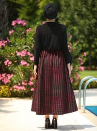 Red - Black - Plaid - Geometric - Unlined -  - Skirt