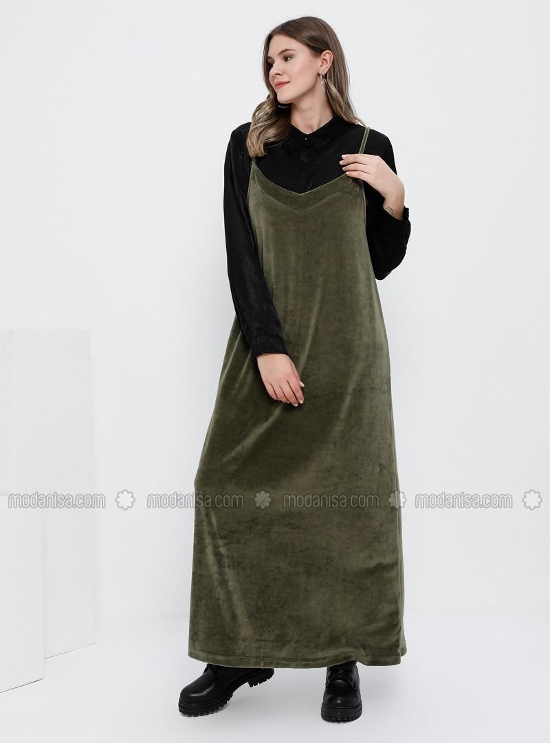 Khaki - Unlined - V neck Collar -  - Plus Size Dress