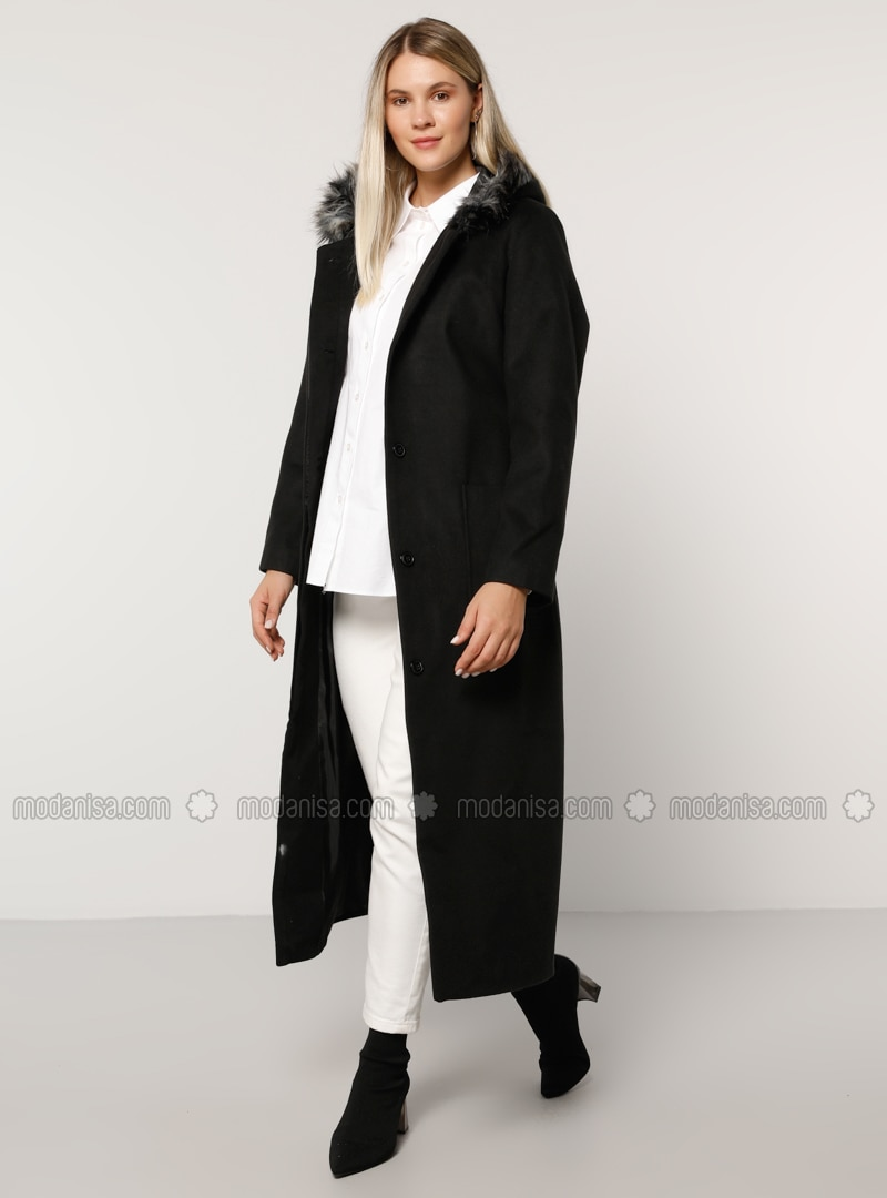 Black - Fully Lined - Rayon - Plus Size Overcoat