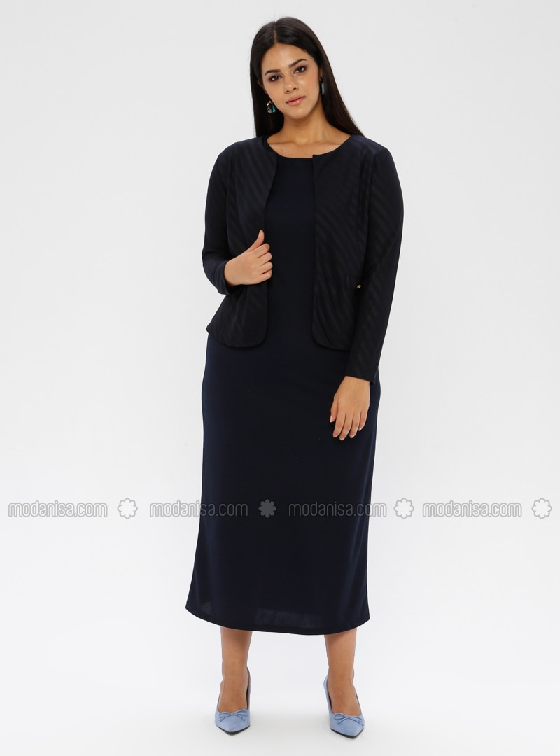 Black - Stripe - Button Collar - Unlined - Plus Size Evening Suit