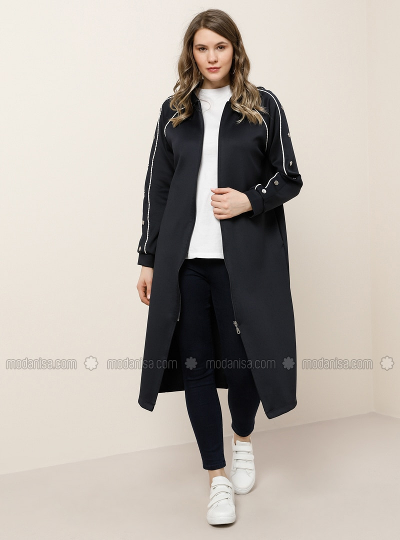 Ecru - Navy Blue - Unlined - Plus Size Coat