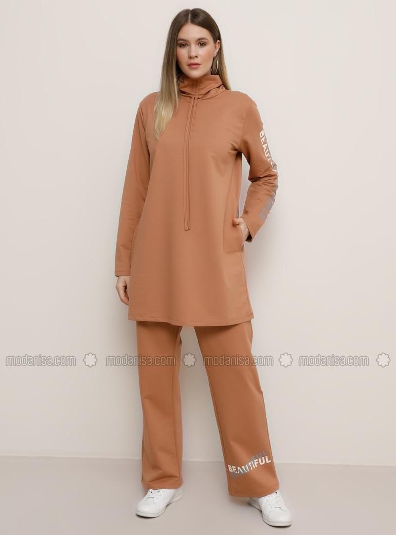 Camel - Tan - Crew neck - Unlined -  - Plus Size Suit
