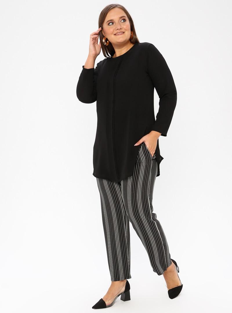 Tesettür Büyük Beden Pantolon GELİNCE Siyah Kadın 52