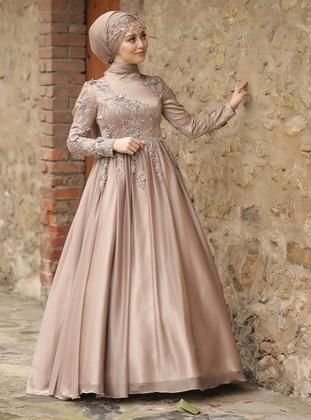 Mink - Fully Lined - Crew neck - Viscose - Muslim Evening Dress
