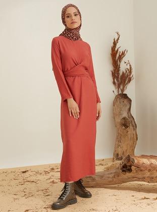 Terra Cotta - Crew neck - Unlined - Nylon - Viscose - Dress