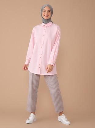 Gray - Pink - Stripe - - Pants