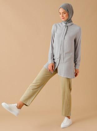 Gray - Yellow - Stripe - - Pants