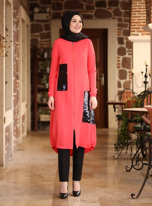 Coral - Unlined - Crew neck - Abaya